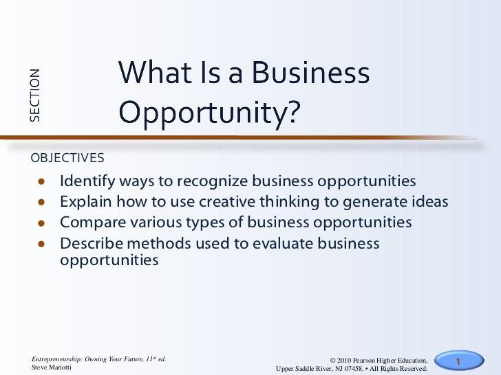 <ul><li>Identify ways to recognize business opportunities </li></ul><ul><li>Explain how to use creative thinking to genera...