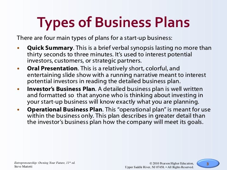 the three types of business plans are quizlet