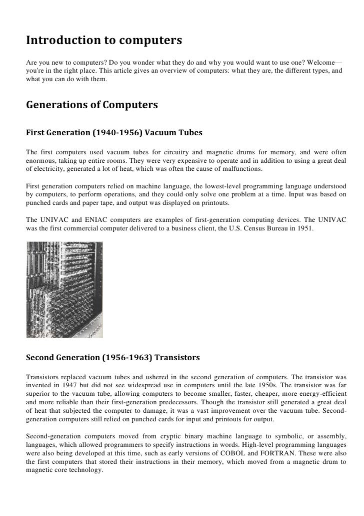 Introduction to computersAre you new to computers? Do you wonder what they do and why you would want to use one? Welcome—y...