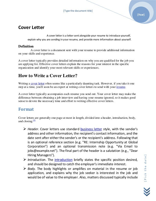 [Type The Document Title] [Year]Cover Letter ...