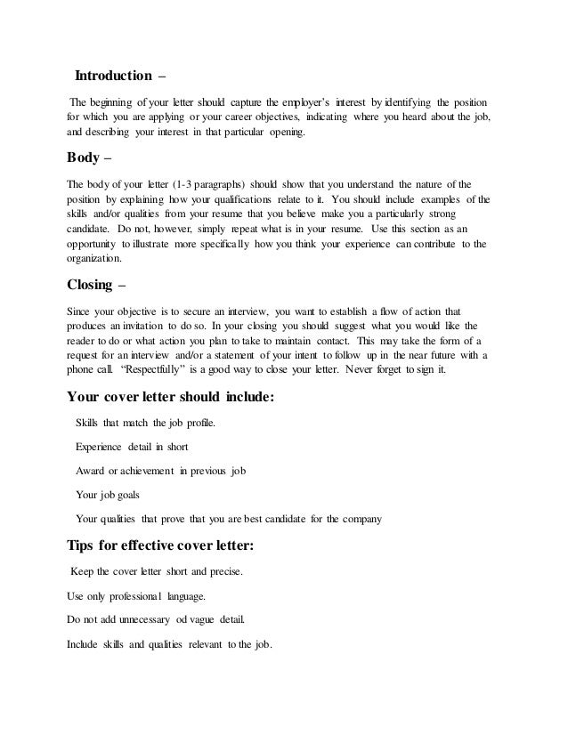 cover letter for potential job opening - what is a cover letter