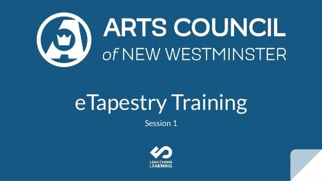 eTapestry Training Session 1