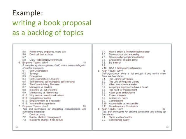 Example: writing a book proposal as a backlog of topics