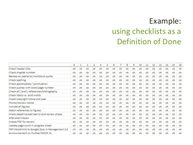 Example: using checklists as a Definition of Done