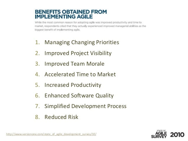 http://www.versionone.com/state_of_agile_development_survey/10/ Managing Changing Priorities1. Improved Project Visibility...