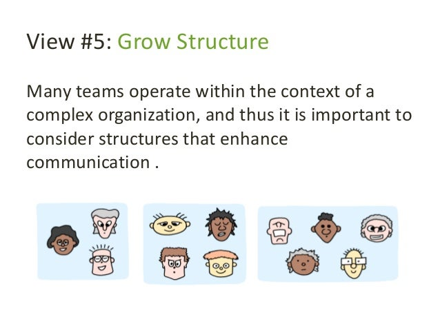 View #5: Grow Structure Many teams operate within the context of a complex organization, and thus it is important to consi...