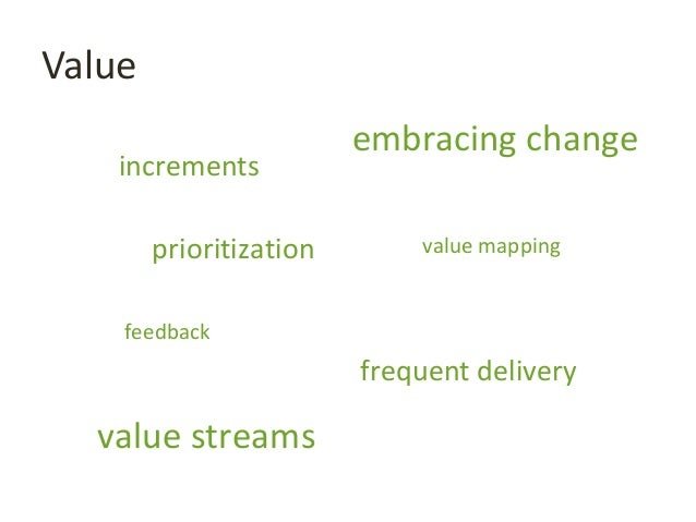 Value embracing change feedback frequent delivery value streams value mappingprioritization increments