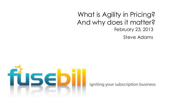 What is Agility in Pricing? And why does it matter? February 23, 2013  Steve Adams
