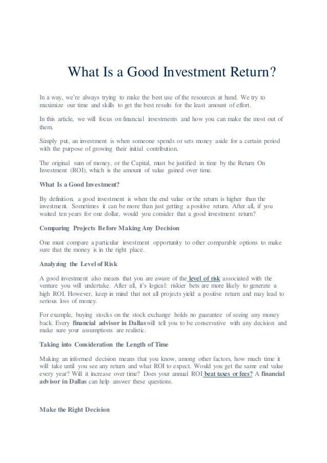 Return definition investment advisor drip investment canada list