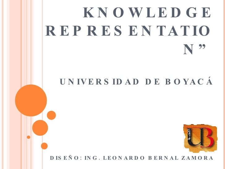 """ WHAT IS A KNOWLEDGE REPRESENTATION"" UNIVERSIDAD DE BOYACÁ   DISEÑO: ING. LEONARDO BERNAL ZAMORA"