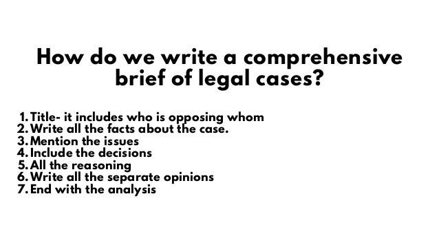 Title- it includes who is opposing whom Write all the facts about the case. Mention the issues Include the decisions All t...