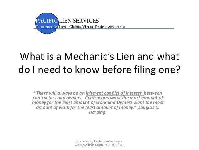 "What is a Mechanic's Lien and what do I need to know before filing one? ""There will always be an inherent conflict of inte..."