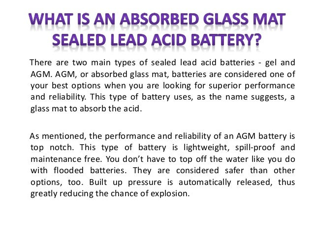 What Is An Absorbed Glass Mat Sealed Lead Acid Battery