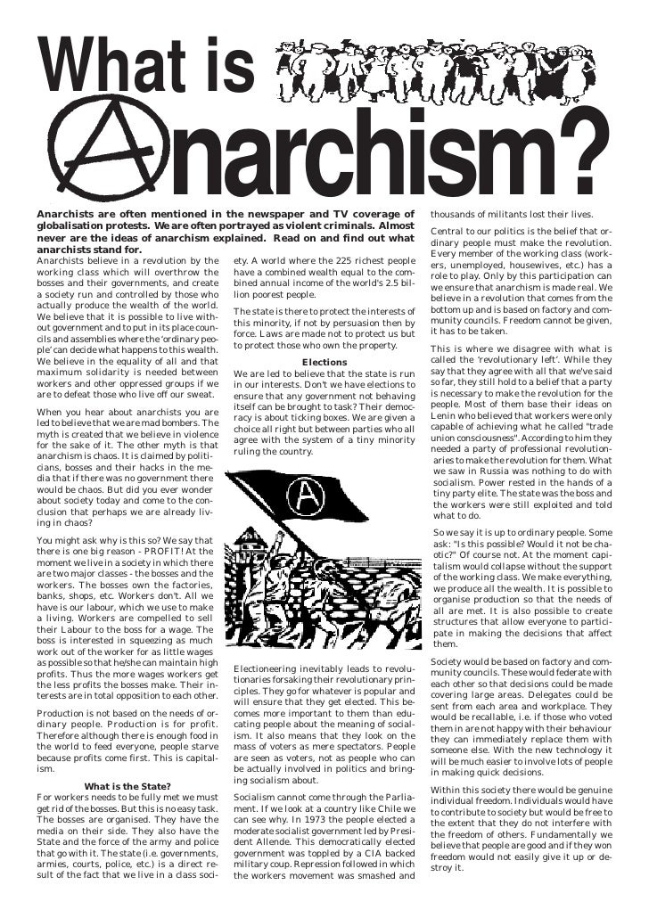What is                                  narchism?Anarchists are often mentioned in the newspaper and TV coverage ofglobal...