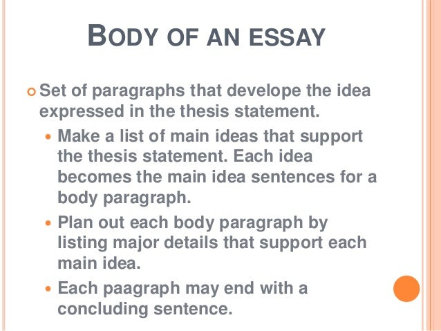 what is an essay 8 body of an essay