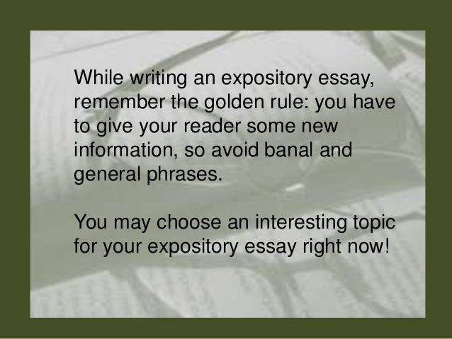 rules of writing an expository essay Crafting a thesis for an expository essay with a great thesis in place, writing your essay will be a snap lc shows you how to write this all-important sentence.