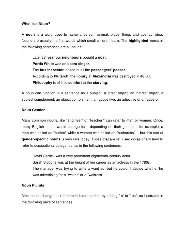 What is a Noun?<br />A noun is a word used to name a person, animal, place, thing, and abstract idea. Nouns are usually th...