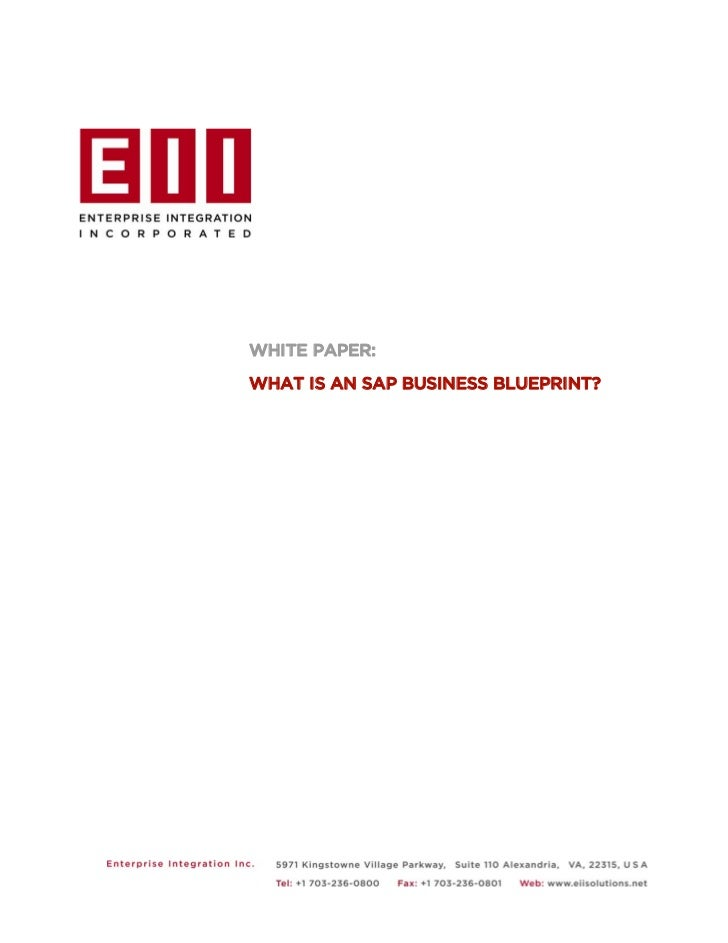 WHITE PAPER:WHAT IS AN SAP BUSINESS BLUEPRINT?