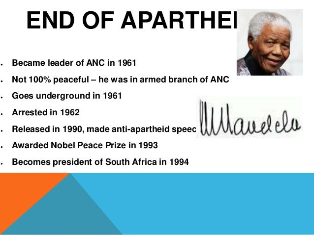 essays end of apartheid in south africa Essays & papers apartheid in south africa we will write a cheap essay sample on apartheid in south africa the end of apartheid began in 1990 (bbc.