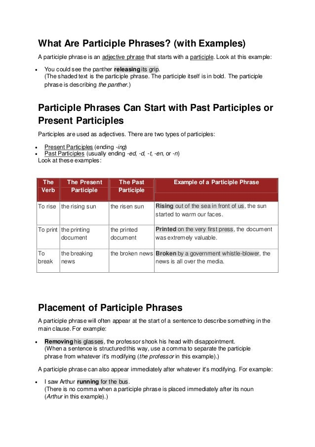 Participial Phrase Example Slide 3jpg Participles And Participial