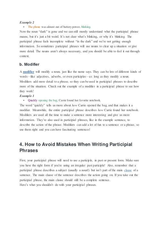 What is a participial phrase – Participial Phrases Worksheet