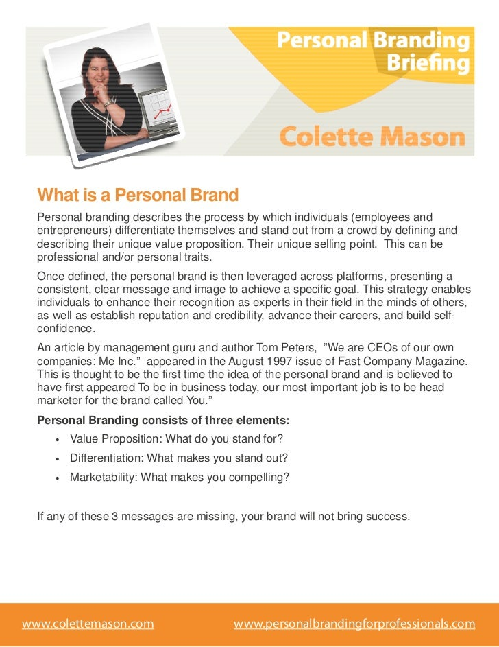 What is a Personal Brand  Personal branding describes the process by which individuals (employees and  entrepreneurs) diff...