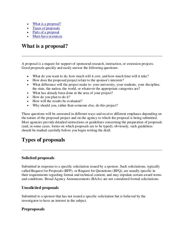Business proposal templates  Free sample of proposal