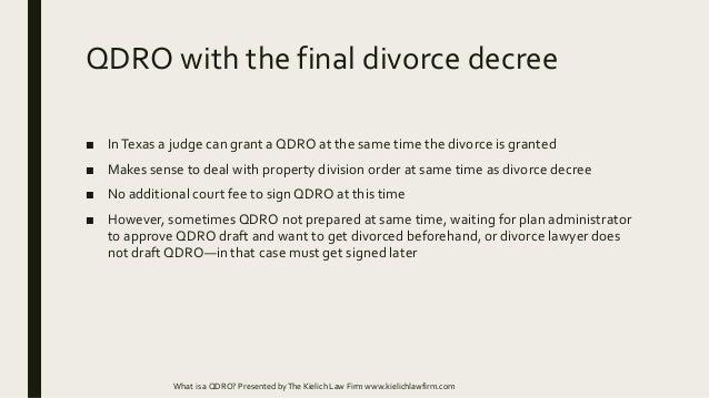 What is a QDRO and how do I get one in a Texas divorce?