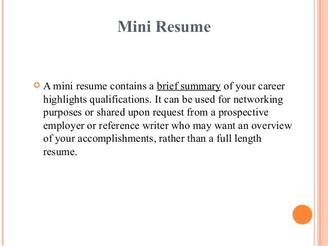 mini resume - Margarethaydon.com