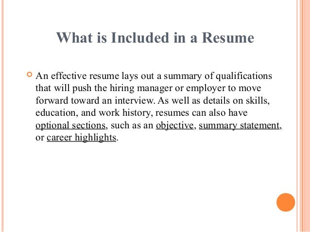 What Is Included In A ...  What Is In A Resume