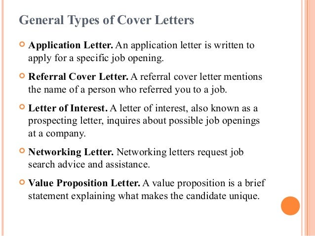 7 general types of cover letters application