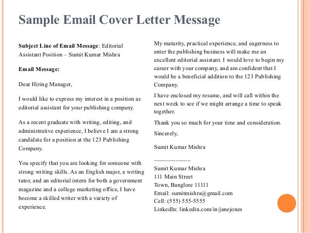 8. Sample Email Cover Letter ...  Email With Resume And Cover Letter