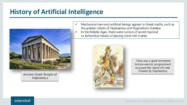 Copyright © 2017, edureka and/or its affiliates. All rights reserved. History of Artificial Intelligence Ancient Greek Tem...