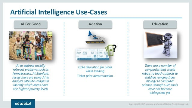 Copyright © 2017, edureka and/or its affiliates. All rights reserved. Artificial Intelligence Use-Cases AI For Good Aviati...