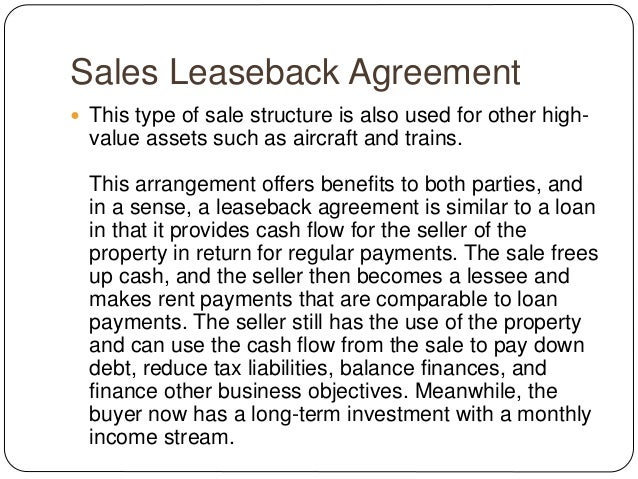 What Is A Sales Leaseback Agreement