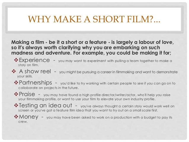 how to make a low budget short film