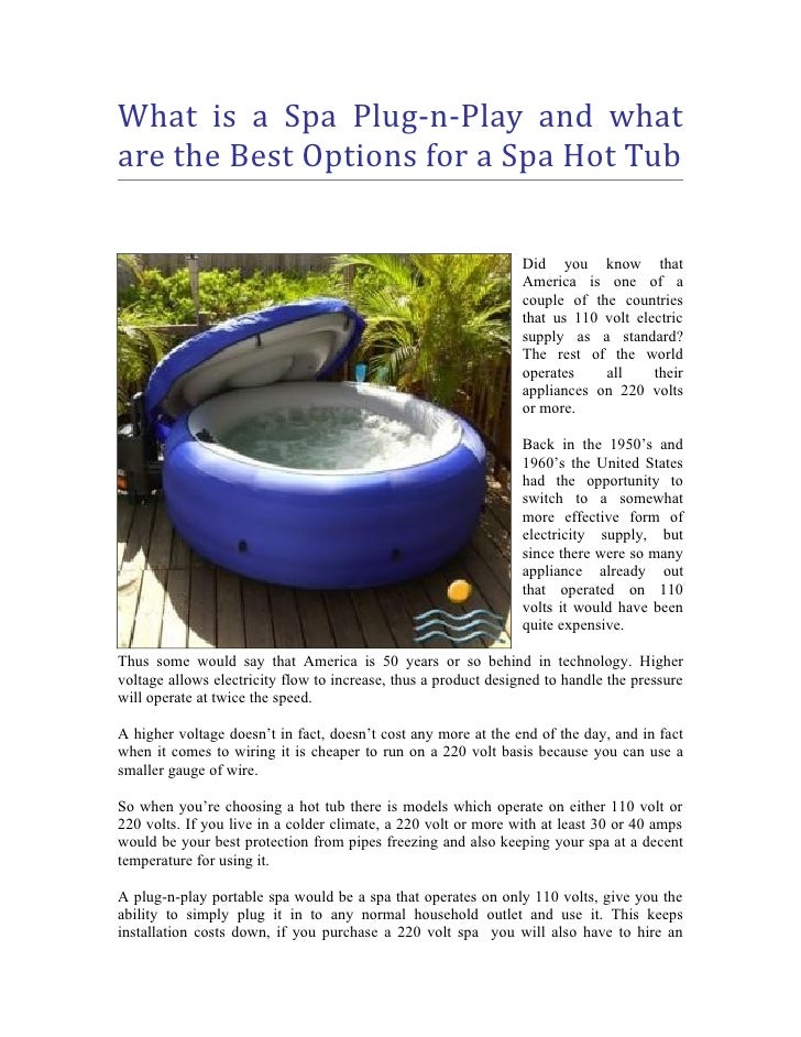 What is a Spa Plug-n-Play and What are the Best Options for a Spa Hot…