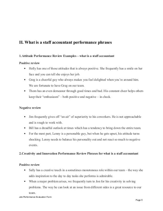 accountant performance evaluation sample What is a staff accountant performance appraisal