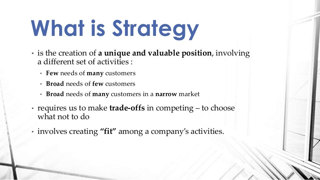 what is a strategy  michael porter