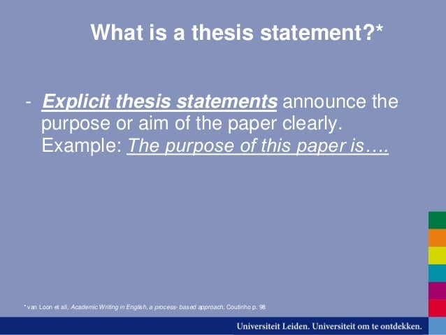 explicit thesis statement My pedagogy includes training in the explicit and implicit knowledge essential   that is plainly laid-out in an explicit thesis statement in the introduction section.