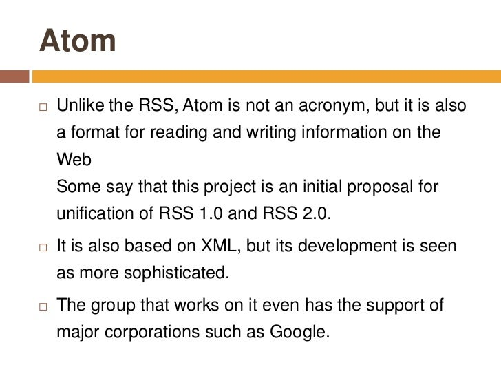 how to create an atom rss feed