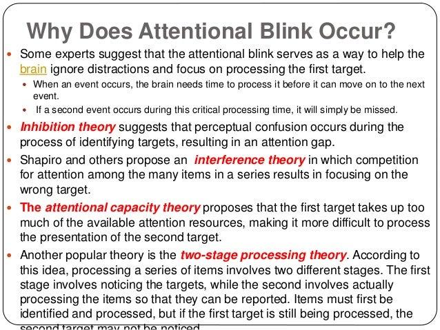 attentional blink Aufmerksamkeitsblinzeln (engl: attentional blink) stellt ein phänomen in der kognitionspsychologie dar das aufmerksamkeitsblinzeln ist ein sehr kurzes.