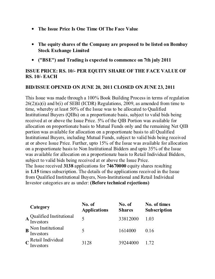 • The Issue Price Is One Time Of The Face Value    • The equity shares of the Company are proposed to be listed on Bombay ...