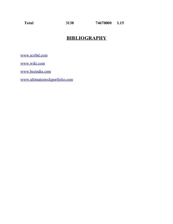 Total                  3138     74670000   1.15                          BIBLIOGRAPHYwww.scribd.comwww.wiki.comwww.bseindi...