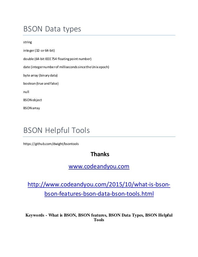 what is bson bson features bson data types bson helpful tools