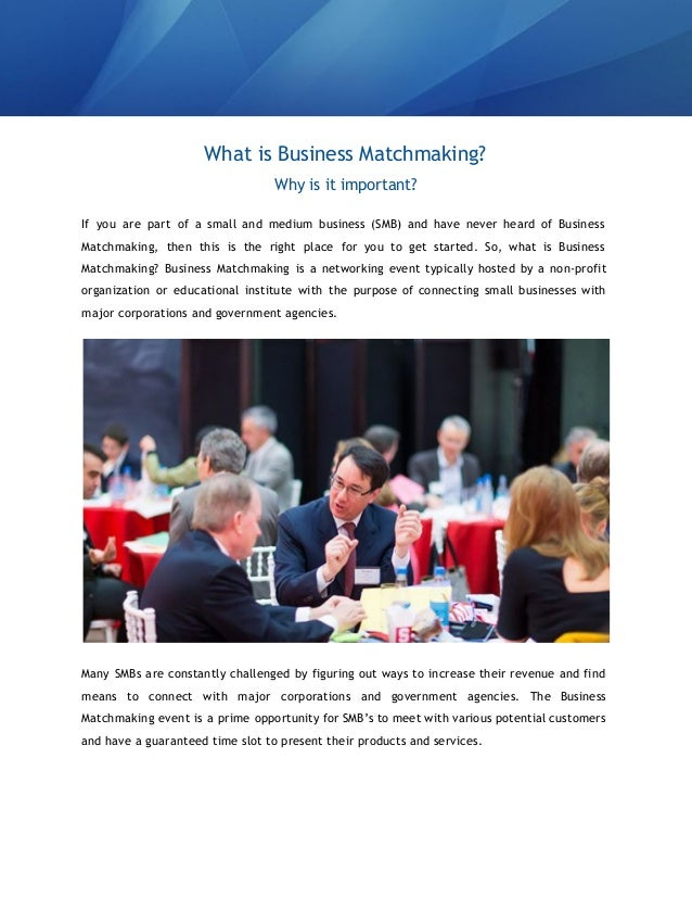 Small business matchmaking events