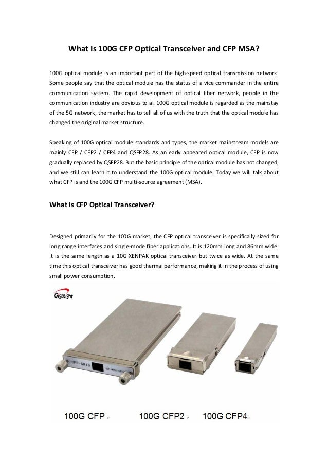 What Is 100g Cfp Optical Transceiver And Cfp Msa