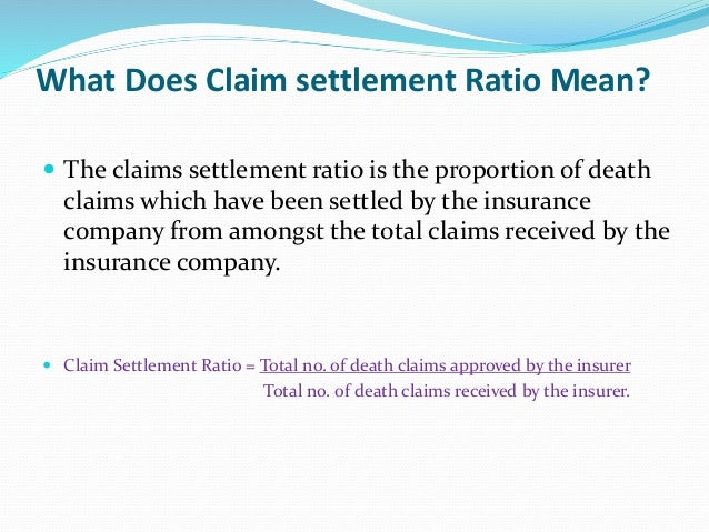 What is claim settlement ppt