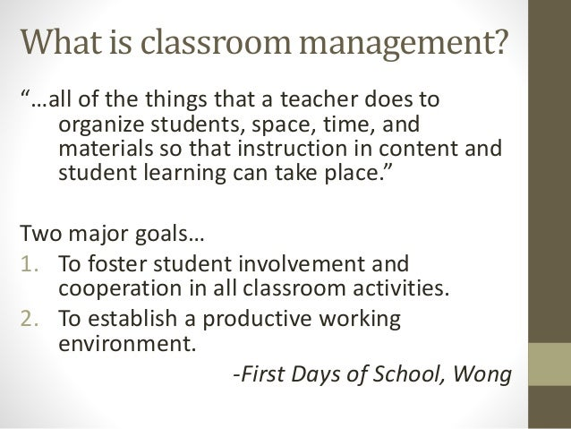 Elementary Classroom Management Techniques ~ What is classroom management