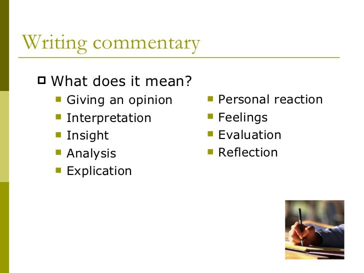 what is commentary an overview through an approaches to learning lens 2 writing commentary